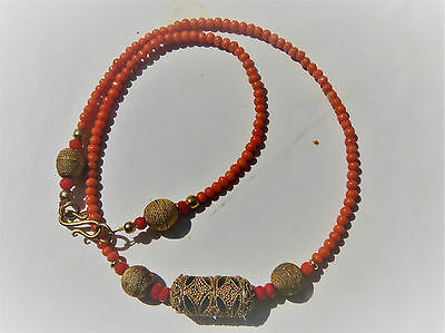 "Antique Victorian,coral and Senegal ""gold"", Or du Pays, delicate salmon coral"