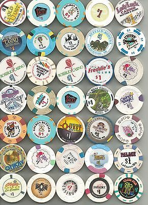 Misc Lot Of 35 $1 Casino Chips -A