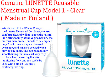LUNETTE Reusable Menstrual Cup Model 1 - Clear ( Made in Finland )