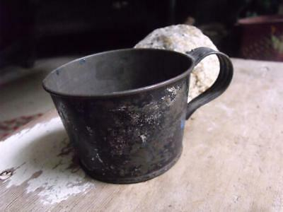 Sweet Small Primitive Antique 19th Century Tin Cup With My Boy in Litho