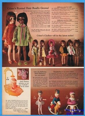 1969 Crissy Hair Growing Doll and Outfits Toby Thumbelina April Shower Print Ad