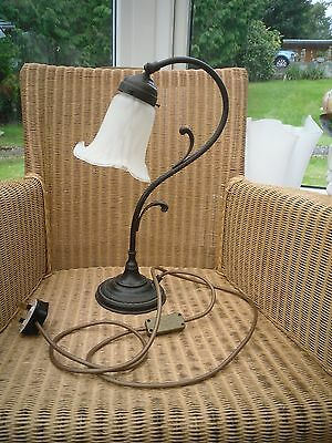 Ornate metal stunning Art Nouveau style lamp with mottled glass shade classic