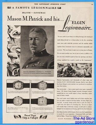 1929 Elgin Watch Major General Mason Patrick Legionnaire Air Service Military Ad