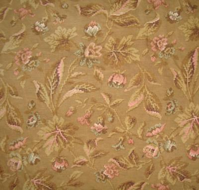 BEAUTIFUL GENTLY FADED 19th CENTURY FRENCH LINEN, ARTS & CRAFTS FLOWERS