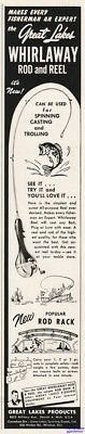 1953 Great Lakes Products Whirlaway Fishing Rod &  Reel Vintage 1950s Print Ad
