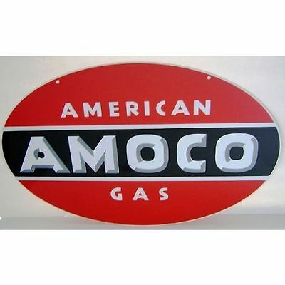"Amoco Double Sided Heavy Sign 24"" Cabin Home Station Garage Shop Farm Barn Decor"
