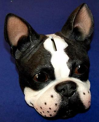Vintage Dog Figurine Plastic BOSTON TERRIER DOG BANK