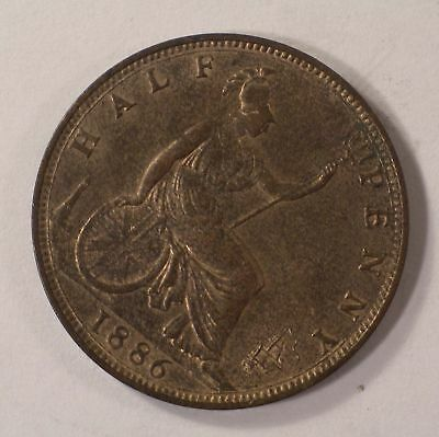 1886 Victoria HALF PENNY Great Britain RED COLOR Uncirculated coin