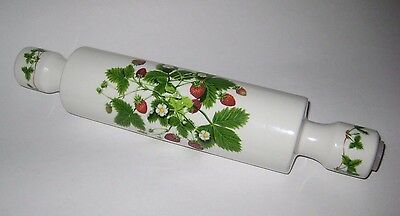 REGINA STOKE Ind STRAWBERRY & Blossom PATTERN Pottery ROLLING PIN