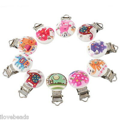 5PCs Cartoon Animal Pacifier Clips Round Wooden Colorful Infant Baby Soother