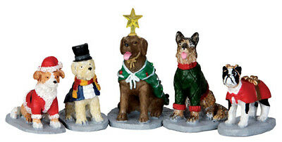Lemax Christmas Village, Costumed Canines Set of 5