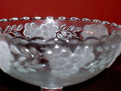 NEW IN BOX! LOOK!! RARE FIND! Nice Vintage Set 4 Frosted Crystal Pedestal Bowls