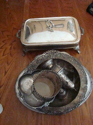 VTG Silverplate, Mixed Assorted Dishes, Etc. for Use, Scrap, Junk Lot 12+Pounds