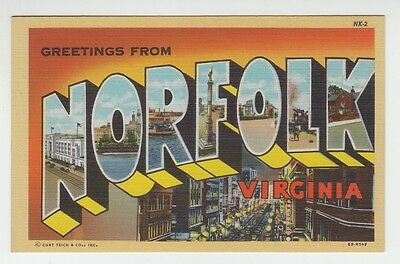 [65308] Old Large Letter Postcard Greetings From Norfolk, Virginia