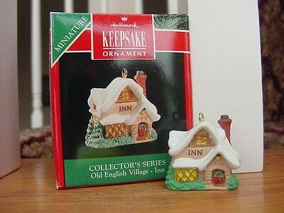 NEW 1991 HALLMARK OLD ENGLISH VILLAGE ~ INN ~ Miniature Christmas Ornament  MIB