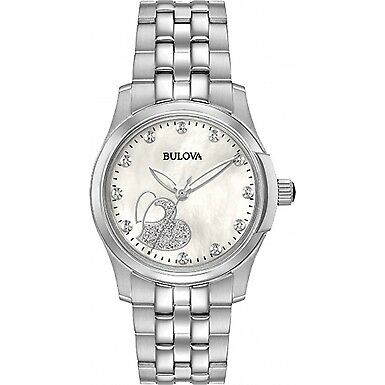£289 RRP Bulova DIAMOND White Mother of Pearl Dial Ladies Watch Brand New