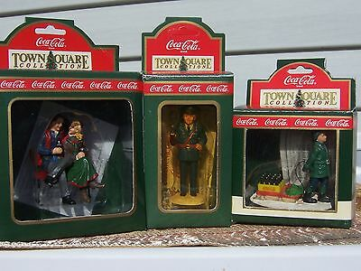 Coca-Cola Town Square Accessories, Lot Of 3, Boy With Sled, Officer Pat