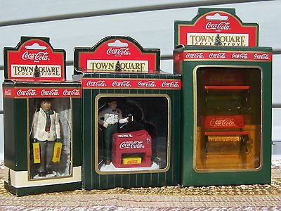 Coca-Cola Town Square Accessories, Lot Of 3, Gas Station Attendant, Benches