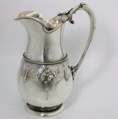 "Antique Gorham Sterling Silver Pitcher 1870 ""c"" Date Mark"