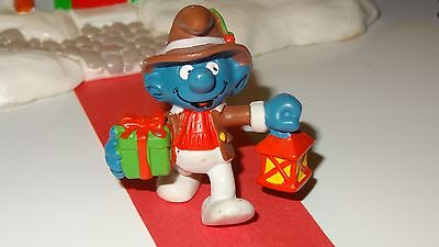 Smurfs Christmas Lantern and Gift Smurf Rare Vintage Classic Toy Display Figure