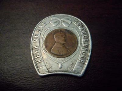 1924 Keep Me And Never Go Broke Lucky Horseshoe Encased Wheat Cent