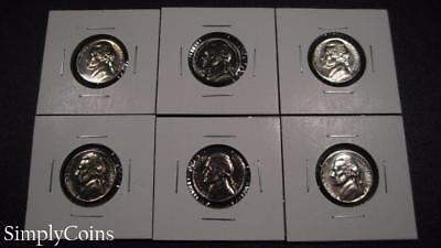 (6) 1966 SMS Jefferson Nickel Coin Lot ~ BU Uncirculated ~ SKU-198