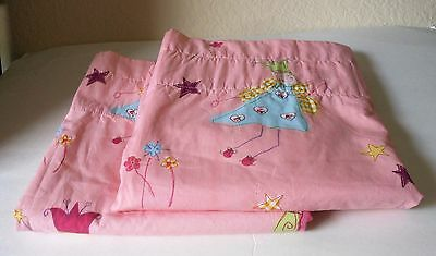 """LAURA ASHLEY Mother & Child """"FUN FAIRIES"""" Pink Lined Tapered Valance  Set of 2"""