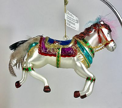 Dept 56 Large Blown Glass Circus Carousel Horse Christmas Ornament Handpainted