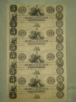 $5 BANK OF AUGUSTA Georgia GA SHEET OF 4 NOTES ***CHECK OUT OUR EBAY STORE***