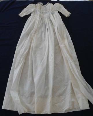 Vintage Baby Christening Gown Dress Pintucks Valenciennes Lace Whitework