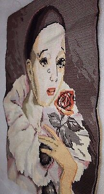 Tapestry France Harlequin Peridot Jester clown 36 x 49 cm finished needlecraft