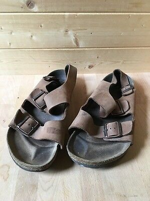 Birkenstock Milano Slingback Tan Brown Leather Sandals Shoes 42  L 11 M 9