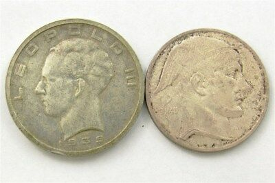1939 & 1948 Belgium Silver 50 Francs - Very Fine+/Extremely Fine - KM 121 & 136