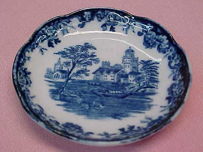 "Antique England Blue & White Butter Pat 3"" Wide  #72"