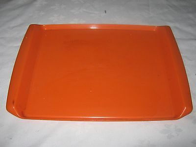 A Retro styled Orange Rectangular Decor Plastic Drinks Serving Tray