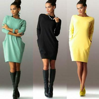 Womens Causal Jumper Long Tops Sweater Ladies Sweatshirt Mini Party Dress LG