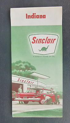 1961 Indiana road map Sinclair gas Indianapois metro