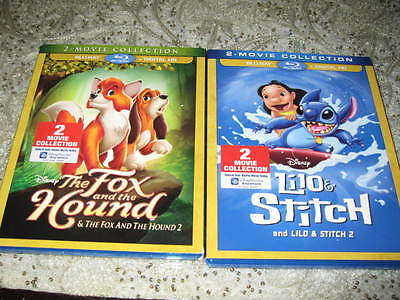 Lilo and Stitch/  2  Fox in the hound /2 digital blu ray lot