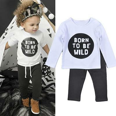 Newborn Toddler Infant Baby Boy Girl Clothes T-shirt Tops+Pants Outfits Set 100