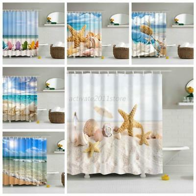 Bathroom Fabric Ocean Sea Beach Shell Print Shower Waterproof Curtain with Hooks