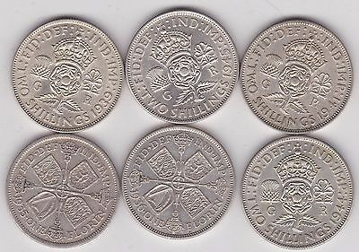 George V & Vi 50% Silver Florins 1935/1936/1939/1941/1944 & 1945 In Very Fine