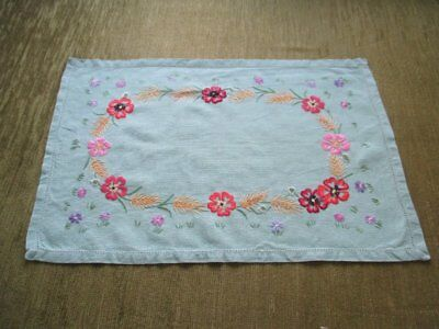 VINTAGE TRAY CLOTH - HAND EMBROIDERED with HARVEST FLOWERS