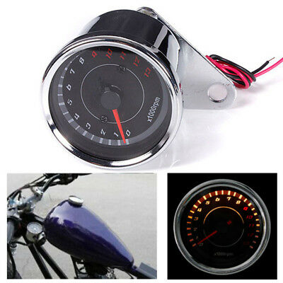12V Motorcycle LED Speedometer Meter Tachometer Tach Gauge 0-13000 RPM Backlight