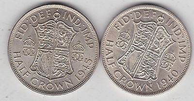 1940 & 1945 George Vi 50% Silver Half Crowns In Extremely Fine Condition
