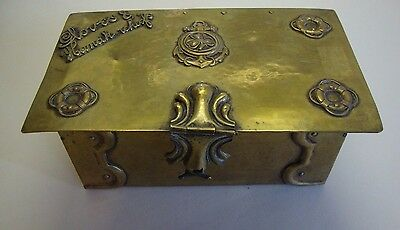 Arts & crafts brass gloves & handkerchiefs box with nautical theme