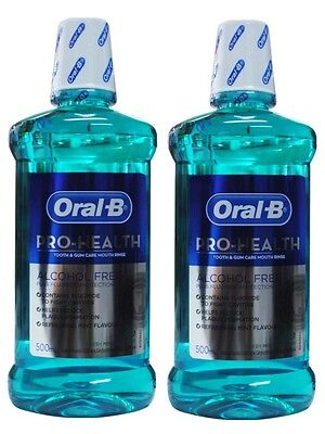 2 x ORAL B 500ML PRO-HEALTH TOOTH & GUM CARE MOUTH RINSE FRESH MINT - ALL NEW