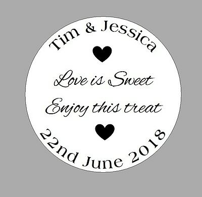 WEDDING STICKERS sweet cones favours, love is sweet personalised name