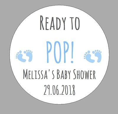 24 x READY TO POP Baby Shower Personalised Stickers Pregnant Mom Party Bag