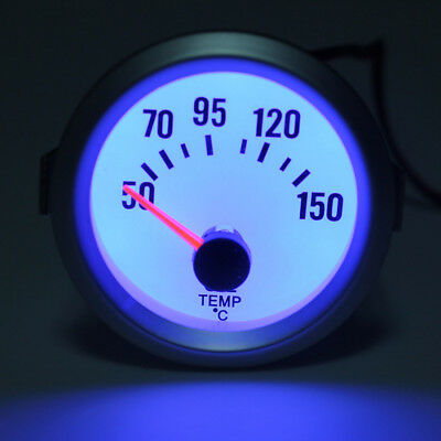 2'' 52mm Electrical Oil Temp Gauge Celsius White Face Blue LED Temperature 12V