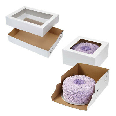 Wilton 2pk White CORRUGATED Cardboard Cupcake Cake Party Box with Clear Window